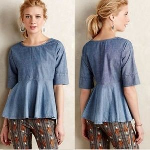 Adriano Goldschmied Chambray Ombre Peplum Top